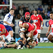 Wales defense was formidable vs Tonga 15's in their 24-6 trouncing of the Kingdom at Eden Park, Auckland, New Zealand, 6/16/17, Photo by Barry Markowitz