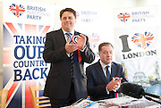 British National Party election manifesto launch for the May 3 London Assembly elections in East London, Great Britain <br /> 9th April 2012 <br /> <br /> <br /> Nick Griffin - chairman / leader of the BNP <br /> <br /> <br /> Stephen Squire <br /> candidate and Regional Organiser for the whole of London<br /> <br /> <br /> Photograph by Elliott Franks