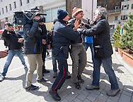 A man is arrested by security forces at a demonstration against cross assurance measures at the border from Italy to Austria in Gries am Brenner, Austria.<br /> Picture by EXPA Pictures/Focus Images Ltd 07814482222<br /> 24/04/2016