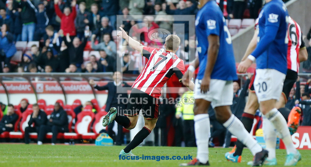 Sebastian Larsson (7) of Sunderland wheels away after scoring the opening goal during the Barclays Premier League match at the Stadium Of Light, Sunderland<br /> Picture by Simon Moore/Focus Images Ltd 07807 671782<br /> 09/11/2014