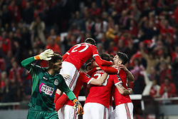 February 17, 2018 - Lisbon, Portugal - Benfica's defender Ruben Dias celebrates his goal  with his teammates during Primeira Liga 2017/18 match between SL Benfica vs Boavista FC, in Lisbon, on February 17, 2018. (Credit Image: © Carlos Palma/NurPhoto via ZUMA Press)