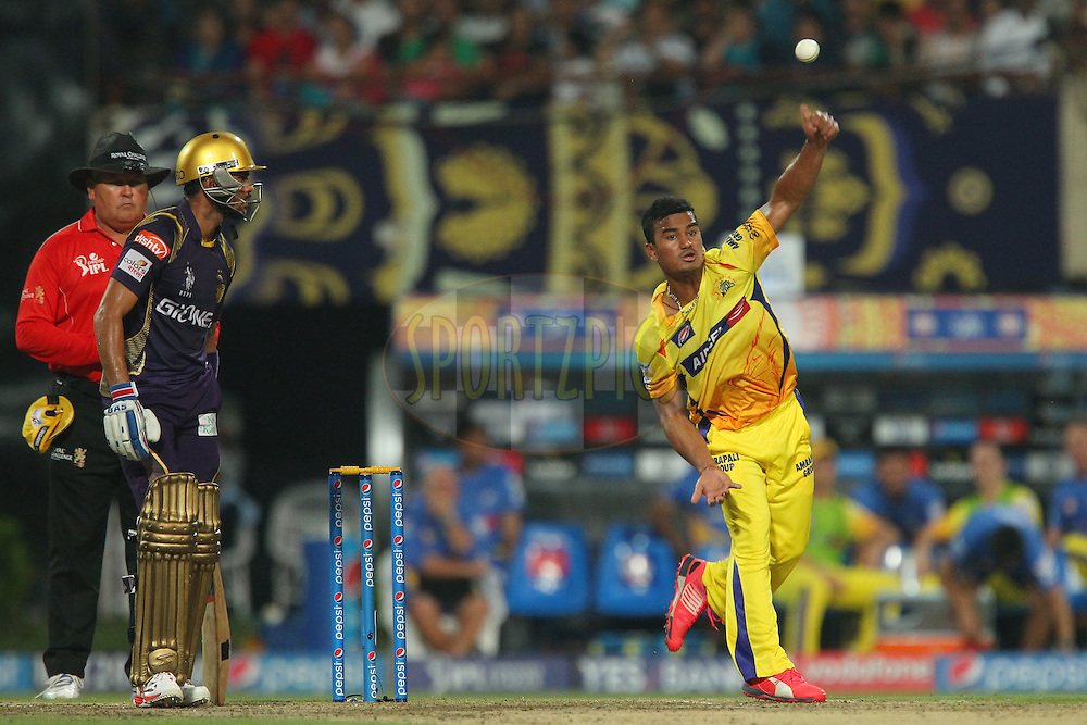 Pawan Negi of the Chennai Superkings  during match 30 of the Pepsi IPL 2015 (Indian Premier League) between The Kolkata Knight Riders and The Chennai Superkings held at Eden Gardens Stadium in Kolkata, India on the 30th April 2015.<br /> <br /> Photo by:  Ron Gaunt / SPORTZPICS / IPL