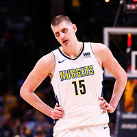 09 April 2018: Denver Nuggets center Nikola Jokic (15) is seen during the Denver Nuggets 88-82 victory over the Portland Trail Blazers, at the Pepsi Center, Denver, Colorado, USA.