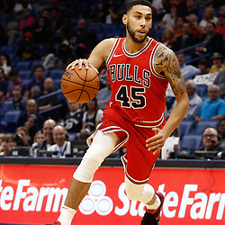 Oct 3, 2017; New Orleans, LA, USA; Chicago Bulls guard Denzel Valentine (45) against the New Orleans Pelicans during a NBA preseason game at the Smoothie King Center. The Bulls defeated the Pelicans 113-109. Mandatory Credit: Derick E. Hingle-USA TODAY Sports