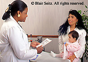 Medical, Physician at Work, African American Female Pediatrician, Hispanic Mother and Baby, Urban Clinic