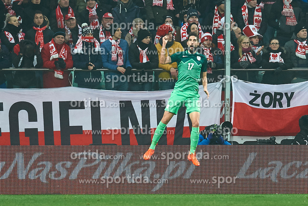 Wroclaw, Poland - 2016 November 14: Miha Mevlja of Slovenia celebrates after scoring during Poland v Slovenia - International Friendly Soccer Match at Municipal Stadium on November 14, 2016 in Wroclaw, Poland.<br /> <br /> Adam Nurkiewicz declares that he has no rights to the image of people at the photographs of his authorship.<br /> <br /> Picture also available in RAW (NEF) or TIFF format on special request.<br /> <br /> Any editorial, commercial or promotional use requires written permission from the author of image.<br /> <br /> Mandatory credit:<br /> Photo by © Adam Nurkiewicz / Mediasport