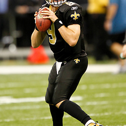 December 4, 2011; New Orleans, LA, USA; New Orleans Saints quarterback Drew Brees (9) against the Detroit Lions prior to kickoff of a game at the Mercedes-Benz Superdome. Mandatory Credit: Derick E. Hingle-US PRESSWIRE