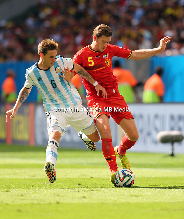 Lucas Biglia of Argentina and Jan Vertonghen of Belgium