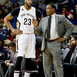 Dec 8, 2016; New Orleans, LA, USA; New Orleans Pelicans head coach Alvin Gentry talks with forward Anthony Davis (23) during the first quarter of a game against the Philadelphia 76ers at the Smoothie King Center. Mandatory Credit: Derick E. Hingle-USA TODAY Sports