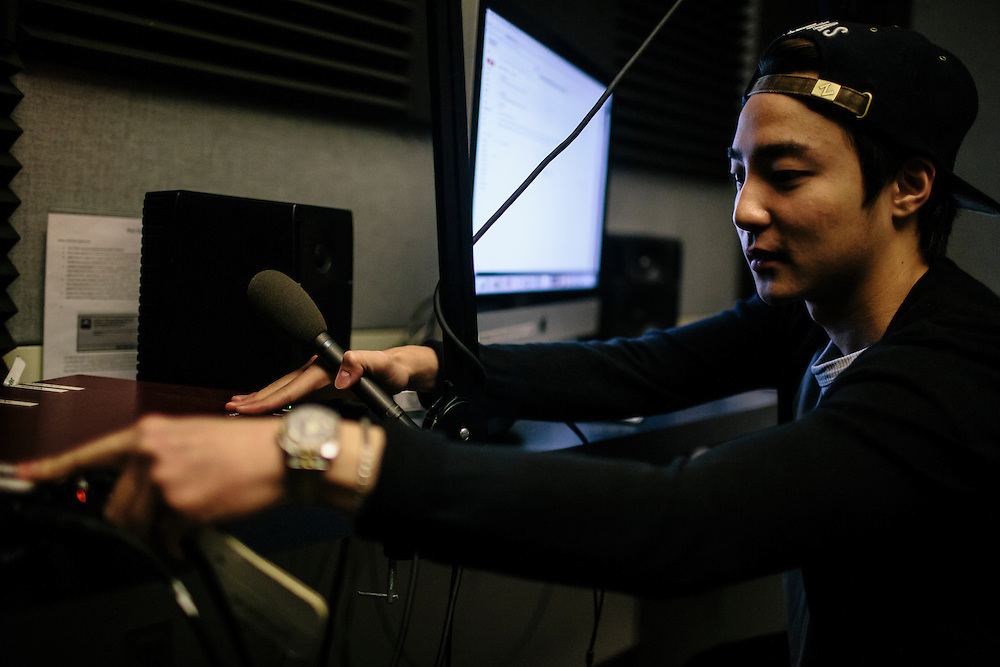 Roy Kim, works on a new song in the recording studio at the Joseph Mark Lauinger Library on the campus of Georgetown University. Kim became a South Korean pop star after winning Superstar K4, his country's version of American Idol. Currently he's a sophomore at Georgetown University, where he is able to live more of a private life while he gets his degree and works on new albums.