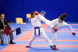 Inga Sheroziya of Russia (red) fighting against Azra Sales of Croatia (blue) during final of Kumite Individual female Seniors -68 kg at Day One of Karate 1 World Cup - Thermana Slovenia Lasko 2014 tournament, on March 15, 2014 in Arena Tri Lilije, Lasko, Slovenia.Photo by Vid Ponikvar / Sportida