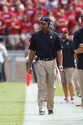 PALO ALTO, CA - OCTOBER 06: Head coach David Shaw of the Stanford Cardinal on the sidelines against the Arizona Wildcats during the second quarter at Stanford Stadium on October 6, 2012 in Palo Alto, California. The Stanford Cardinal defeated the Arizona Wildcats 54-48 in overtime. (Photo by Jason O. Watson/Getty Images) *** Local Caption *** David Shaw