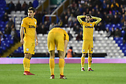 Preston North End forward Tom Barkhuizen (29) looks back at Declan Rudd and holds his head in his hands during the EFL Sky Bet Championship match between Birmingham City and Preston North End at St Andrews, Birmingham, England on 1 December 2018.