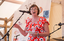 © Licensed to London News Pictures.  22/07/2018; Tolpuddle, Dorset, UK. FRANCES O'GRADY, General Secretary of the TUC, speaks at the Tolpuddle Martyrs Festival. The Tolpuddle Martyrs Festival for trade unionism, held every year, commemorates the birth of the trade union movement in the 19th century when the Tolpuddle Martyrs were transported to Australia for forming a trade union of agricultural labourers in Dorset. This year is also the 150th anniversary of the TUC. Photo credit: Simon Chapman/LNP