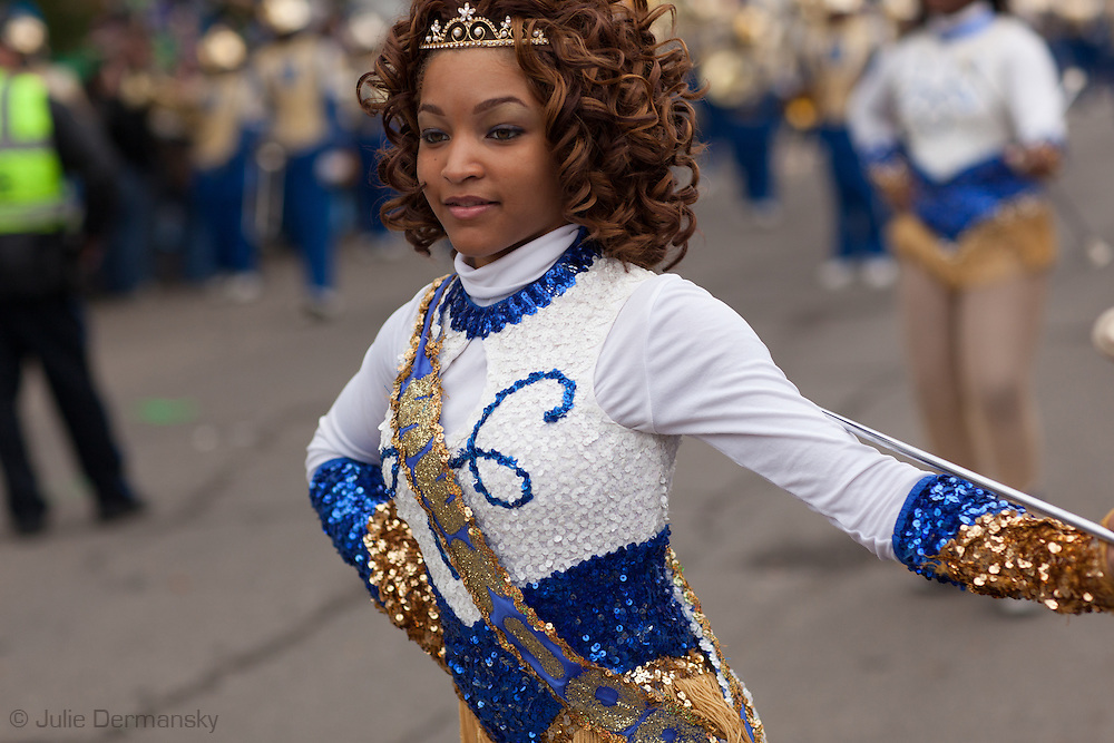 New Orleans, Louisiana,February 10,  Baton Twirler performs during the Krewe of Thoth Mardi Gras parade,