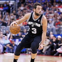 16 December 2013: San Antonio Spurs shooting guard Marco Belinelli (3) dribbles during the Los Angeles Clippers 115-92 victory over the San Antonio Spurs at the Staples Center, Los Angeles, California, USA.