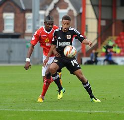 Bristol City's Bobby Reid controls the ball under pressure - Photo mandatory by-line: Dougie Allward/JMP - Tel: Mobile: 07966 386802 19/10/2013 - SPORT - FOOTBALL - Alexandra Stadium - Crewe - Crewe V Bristol City - Sky Bet League One