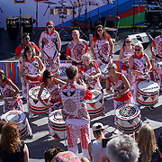 London,England,UK: 7th Aug 2016: Batala London preforms at the Marking the Opening of the Rio Olympics 2016,London,UK at The Scoop,London,UK. Photo by See Li