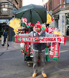A flag vendor outside of the stadium <br /> <br /> Photographer Simon King/Replay Images<br /> <br /> Under Armour Series - Wales v Tonga - Saturday 17th November 2018 - Principality Stadium - Cardiff<br /> <br /> World Copyright © Replay Images . All rights reserved. info@replayimages.co.uk - http://replayimages.co.uk