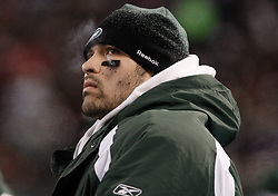Jan 3, 2010; East Rutherford, NJ, USA; New York Jets quarterback Mark Sanchez (6) during the second half at Giants Stadium. The Jets clinched a playoff spot with a 37-0 win over the Bengals.