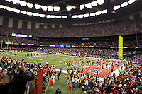 3 February 2013: The San Francisco 49ers and Baltimore Ravens warm up before the Ravens 34-31 victory over the 49ers in Superbowl XLVII at the Mercedes-Benz Superdome in New Orleans, LA.