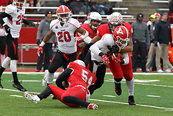 NORMAL, IL - November 17:  Paul Monaco, Tuvone Clark during a college football game between the ISU (Illinois State University) Redbirds and the Youngstown State Penguins on November 17 2018 at Hancock Stadium in Normal, IL. (Photo by Alan Look)