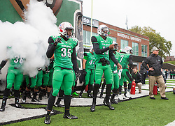 Oct 3, 2015; Huntington, WV, USA; Marshall Thundering Herd players enter the field before the game against the Old Dominion Monarchs at Joan C. Edwards Stadium. Mandatory Credit: Ben Queen-USA TODAY Sports