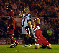 Photo: Jed Wee.<br /> Middlesbrough v West Bromwich Albion. The Barclays Premiership. 27/11/2005.<br /> <br /> Middlesbrough's Emanuel Pogatetz rues a missed chance.