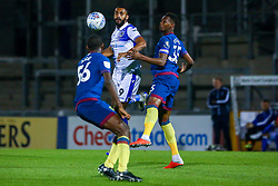 Stefan Payne of Bristol Rovers is marked by Reece Oxford of West Ham United U21s and Ajibola Alese of West Ham United U21s - Mandatory by-line: Ryan Hiscott/JMP - 18/09/2018 - FOOTBALL - Memorial Stadium - Bristol, England - Bristol Rovers v West Ham United U21 - Checkatrade Trophy