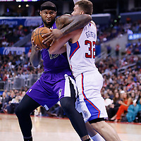 25 October 2013: Sacramento Kings center DeMarcus Cousins (15) spins around Los Angeles Clippers power forward Blake Griffin (32) during the Sacramento Kings 110-100 victory over the Los Angeles Clippers at the Staples Center, Los Angeles, California, USA.