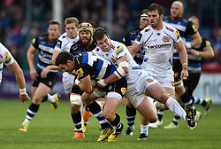 Jeff Williams of Bath Rugby is tackled by Ian Whitten of Exeter Chiefs - Mandatory byline: Patrick Khachfe/JMP - 07966 386802 - 10/10/2015 - RUGBY UNION - The Recreation Ground - Bath, England - Bath Rugby v Exeter Chiefs - West Country Challenge Cup.