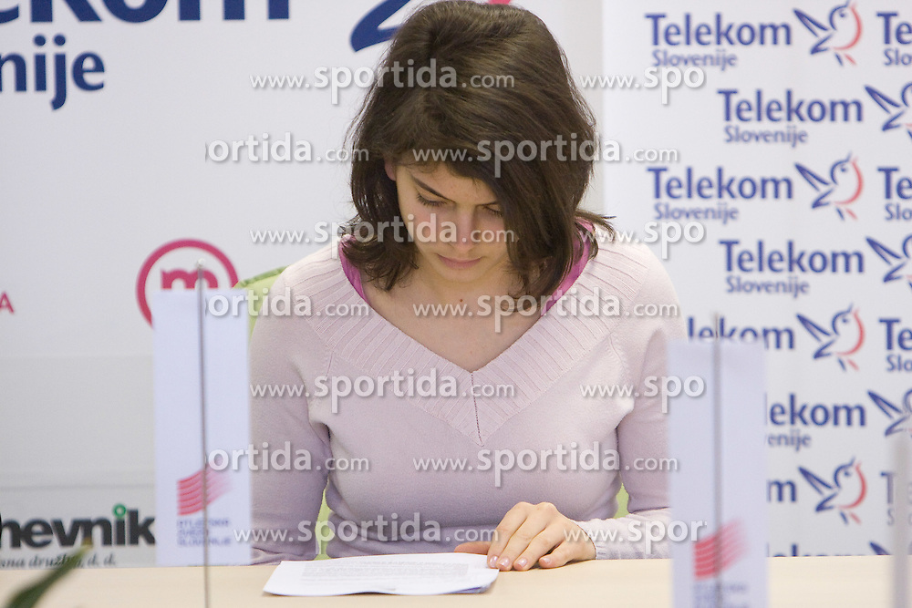 Alja Sitar when Slovenian athletes and their coaches sign contracts with Athletic federation of Slovenia for year 2009,  in AZS, Ljubljana, Slovenia, on March 2, 2009. (Photo by Vid Ponikvar / Sportida)
