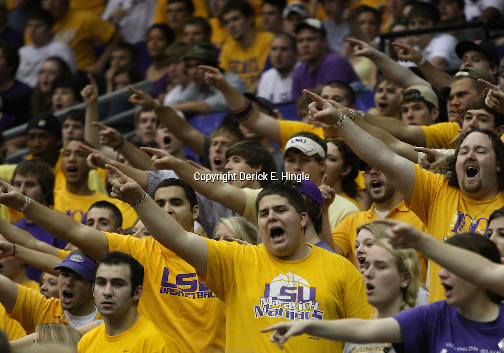 14 February 2009:  LSU fans cheer during 73-66 win by the LSU Tigers against SEC rival the Ole Miss Rebels at the Pete Maravich Assembly Center in Baton Rouge, LA.
