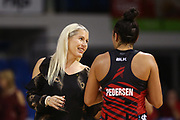 Head Coach Marianne Delaney-Hoshek of the Tactix talks to Erikana Pedersen after the match. 2018 ANZ Premiership netball match, Mystics v Tactix at The Trusts Arena, Auckland, New Zealand. 9 May 2018 © Copyright Photo: Anthony Au-Yeung / www.photosport.nz