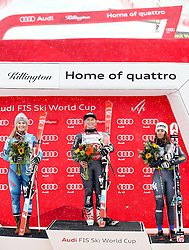 26.11.2016, Killington, USA, FIS Weltcup Ski Alpin, USA, FIS Weltcup Ski Alpin, Killington, Riesenslalom, Damen, Siegerpräsentation, im Bild 26.11.2016, Killington, USA, FIS Weltcup Ski Alpin, Killington, Riesenslalom, Damen, Siegerpräsentation, im Bild // f.l. second placed Nina Loeseth of Norway race winner Tessa Worley of France third placed Sofia Goggia of Italy during the winner presentation after ladies giant slalom of FIS ski alpine world cup at the Killington, Austria on 2016/11/26. EXPA Pictures © 2016, PhotoCredit: #AGENTUR#/ SM<br /> <br /> *****ATTENTION - OUT of GER***** // f.l. second placed Nina Loeseth of Norway race winner Tessa Worley of France third placed Sofia Goggia of Italy during the winner presentation after ladies giant slalom of FIS ski alpine world cup at the Killington, Austria on 2016/11/26. EXPA Pictures © 2016, PhotoCredit: EXPA/ SM<br /> <br /> *****ATTENTION - OUT of GER*****