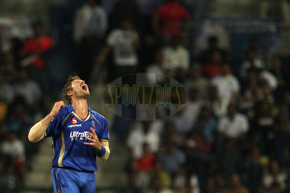 Shane Watson captain of the Rajatshan Royals reacts after a delivery goes for four during match 19 of the Pepsi Indian Premier League 2014 Season between The Kolkata Knight Riders and the Rajasthan Royals held at the Sheikh Zayed Stadium, Abu Dhabi, United Arab Emirates on the 29th April 2014<br /> <br /> Photo by Ron Gaunt / IPL / SPORTZPICS