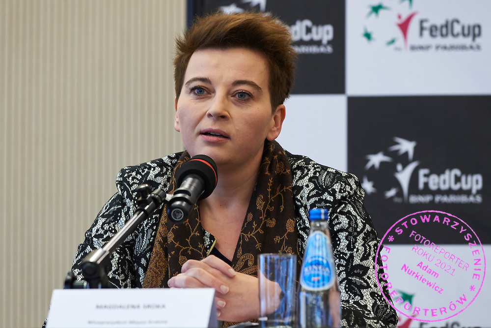 Magdalena Sroka - Vicepresident of City Cracow speaks during official draw one day before the Fed Cup / World Group 1st round tennis match between Poland and Russia at Holiday Inn on February 6, 2015 in Cracow, Poland.<br /> <br /> Poland, Cracow, February 6, 2015<br /> <br /> Picture also available in RAW (NEF) or TIFF format on special request.<br /> <br /> For editorial use only. Any commercial or promotional use requires permission.<br /> <br /> Adam Nurkiewicz declares that he has no rights to the image of people at the photographs of his authorship.<br /> <br /> Mandatory credit:<br /> Photo by &copy; Adam Nurkiewicz / Mediasport