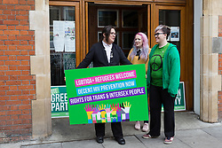 © Licensed to London News Pictures. 28/04/2017. LONDON, UK. AIMEE CHALLENOR, Green Party LGBTIQA+ spokesperson with supporters after the Green Party LGBTIQA+ manifesto launch, at Trinity United Reform Church in London. Jonathan Bartley and Aimee Challenor today set out set out the Green Party LGBTIQA+ manifesto pledges, including commitment to provide the HIV prevention drug PrEP on the NHS.  Photo credit: Vickie Flores/LNP