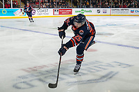 KELOWNA, BC - DECEMBER 27: Quinn Schmiemann #25 of the Kamloops Blazers passes the puck against the Kelowna Rockets at Prospera Place on December 27, 2019 in Kelowna, Canada. Schmiemann was selected in the 2019 NHL entry draft by the Tampa Bay Lightning. (Photo by Marissa Baecker/Shoot the Breeze)