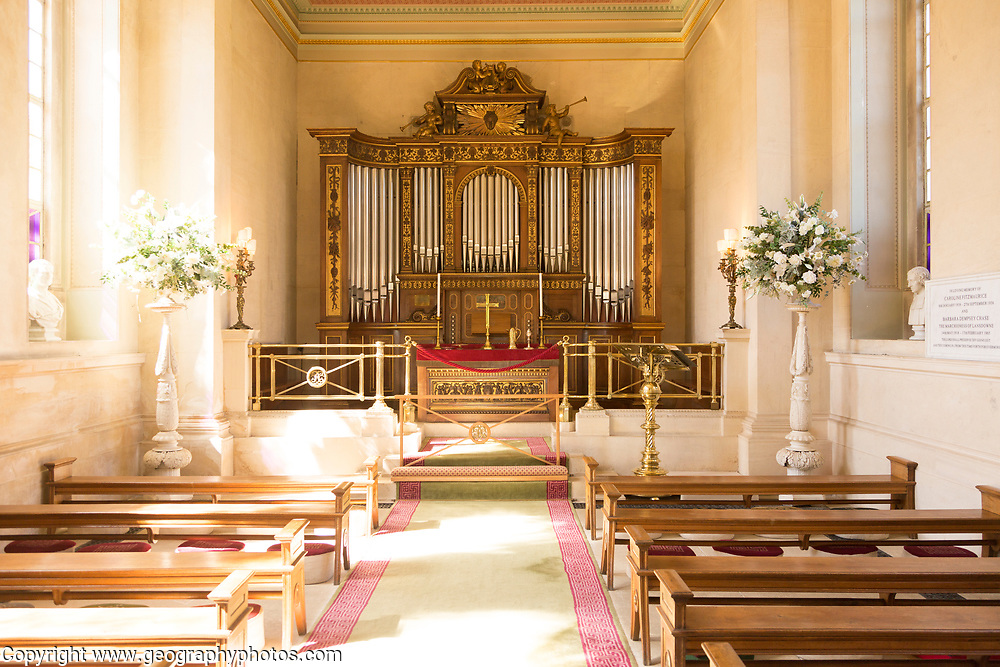 Chapel inside Bowood House and gardens, Calne, Wiltshire, England, UK