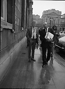 TDs arrive for the opening session of the 23rd Dáil...9-03-82.03-09-1982.9th March 1982..Pictured At Leinster House. ..From left:..Waterford Sinn Féin the Workers Party TD Patrick Gallagher..Cork East Sinn Féin the Workers Party TD Joe Sherlock..
