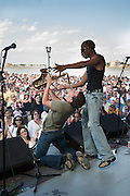 Trombone Shorty and Orleans Avenue perform at the 2008 French Quarter Festival along the Mississippi River at Woldenberg Park in New Orleans, Louisiana
