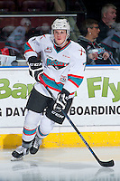 KELOWNA, CANADA - DECEMBER 28: Lucas Johansen #7 of Kelowna Rockets warms up against the Kamloops Blazers on December 28, 2015 at Prospera Place in Kelowna, British Columbia, Canada.  (Photo by Marissa Baecker/Shoot the Breeze)  *** Local Caption *** Lucas Johansen;