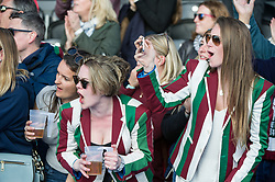 Surbiton supporters. Holcombe v Surbiton - Investec Women's Hockey League Final, Lee Valley Hockey & Tennis Centre, London, UK on 23 April 2017. Photo: Simon Parker