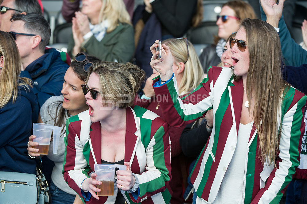 Surbiton supporters. Holcombe v Surbiton - Investec Women's Hockey League Final, Lee Valley Hockey & Tennis Centre, London, UK on 23 April 2017. Photo: Simon Parker