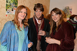 Left to right, ALICE DUDBRIDGE, JOSEPH ADDISON and FLORA SCRYMGEOUR at a private view of William Roper-Curzon's latest paintings held at Julian Hartnoll, 37 Duke Street, St.James's, London on 9th October 2014.