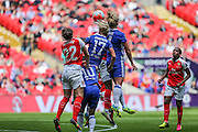 Players of both sides challenge for the ball during the SSE Women's FA Cup Final match between Chelsea Ladies and Arsenal Ladies at Wembley Stadium, London, England on 14 May 2016. Photo by Shane Healey.