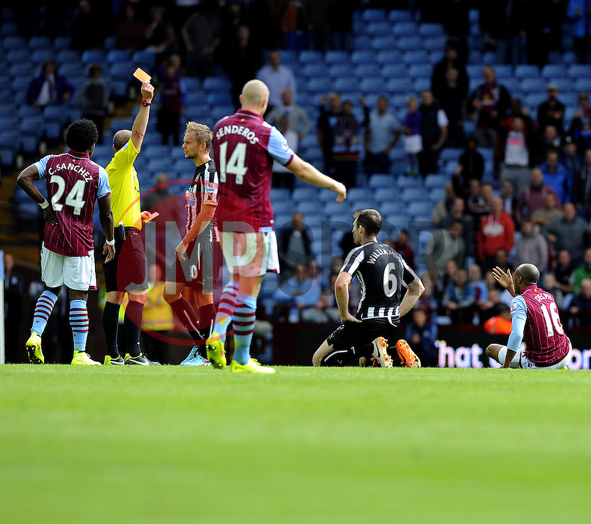 Newcastle United's Michael Williamson is sent off for a second bookable offence after his foul on Aston Villa's Fabian Delph - Photo mandatory by-line: Joe Meredith/JMP - Mobile: 07966 386802 23/08/2014 - SPORT - FOOTBALL - Birmingham - Villa Park - Aston Villa v Newcastle United - Barclays Premier League