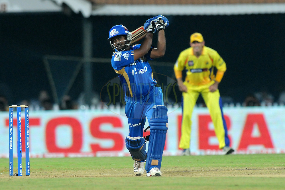 Ambati Rayudu of Mumbai Indians bats during match 3 of the NOKIA Champions League T20 ( CLT20 )between the Chennai Superkings and the Mumbai Indians held at the M. A. Chidambaram Stadium in Chennai , Tamil Nadu, India on the 24th September 2011..Photo by Pal Pillai/BCCI/SPORTZPICS
