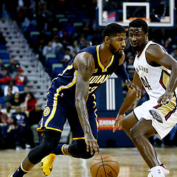 Dec 15, 2016; New Orleans, LA, USA; Indiana Pacers forward Paul George (13) drives past New Orleans Pelicans forward Solomon Hill (44) during the first quarter of a game at the Smoothie King Center. Mandatory Credit: Derick E. Hingle-USA TODAY Sports